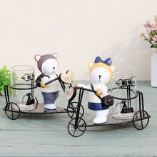 Resin Dog Ride Iron Bicycle Model Craft Antique Bike Figurine miniaturas Novelty Craft Birthday Gift Home Decoration Accessory