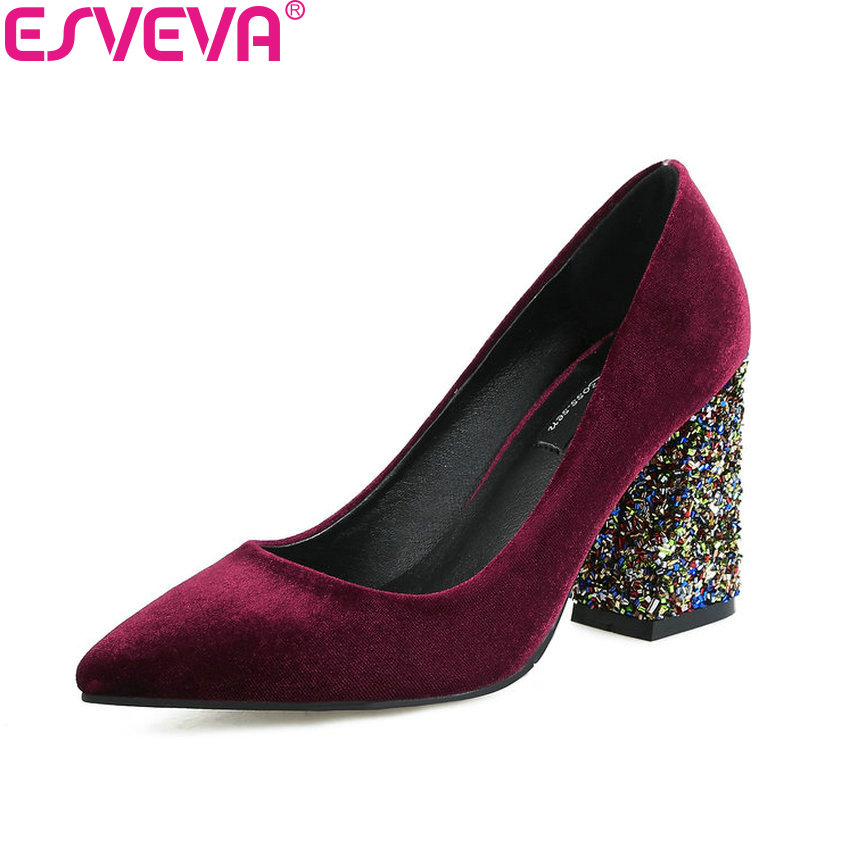 ESVEVA 2018 Women Pumps Bling Heels Gold Velvet Wedding Shoes Square High Heels Pointed Toe Western Style Women Shoes Size 34-43<br>