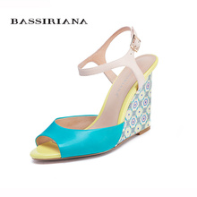 New shoes woman 2017 Wedges sandals Blue color Fashion woman shoes for summer 35-40 Back strap Free shipping BASSIRIANA(China)