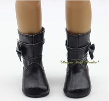 "[AM159] Free Shipping American Girl Doll Shoes # 3prs Black Pleather with Bow Boots for 18"" American Girl Doll Clothes Retail"