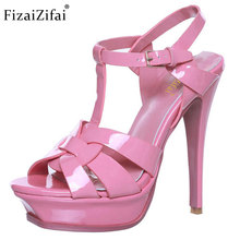 Fizaizifai woman real genuine leather brand sandals high heel platform rome shoes punk t-strap buckle footwear size 33-40 R08543