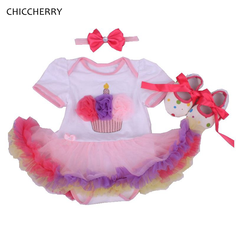 Cupcake 1 Year Birthday Girl Tutu Dress Infant Lace Romper Tutus Set Headband Shoes Vestido Infantil  Festa Vintage Baby Clothes<br><br>Aliexpress