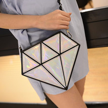 2017 New arrival Geometric Lattice Folding Women Bag Triangle diamond Stitching Shopping Single Shoulder Bags Laser Bag