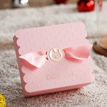 30 Pcs New Creative Baby Girl First birthday Party Favor Pink Candy Box Baby shower Baby Born Birth Announcement Gift Boxes
