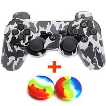 Bluetooth Gamepad Wireless Game Controller for Sony PS3 Controller for Playstation 3 + 2 Silicone Joystick Cap Multi-Camouflage