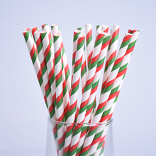 Hot Sale 25pcs/lot Red With Green Striped Paper Drinking Straws Creative Drinking Straw Wedding Decorations Birthday Party Xmas