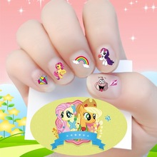 Baby Gift Korea Waterproof 3D Nails Sticker My Little Pony 15 Design Nails Foil Sticker Decor Decals Make Up For Children(China)
