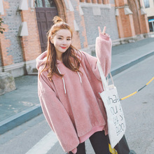 OFTBUY 2017 new spring autumn fashion high quality faux fur flocking pink hoodies loose sweatshirt women coat warm top Pullovers