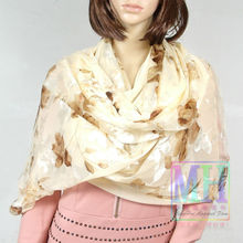 Fashion Silk Scarf Shawl Floral Pattern Female Yellow Coffee Silk Scarf Shawl Printed Jacquard Silk Scarf For Autumn Winter