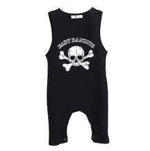 Sleeveless Skull Baby Boy Girl Summer Rompers Clothes Cotton Black Gray Baby Boy Clothing 2016 New Cotton Infant Kids Boys Girls(China)