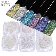 Full Beauty 1 box AB Unicorn Mermaid Nail Sequins 3D Glitter Flakes Paillettes Nail Art Decorations DIY Powder Dust CHFC01-06(China)