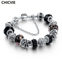 CHICVIE Black Crystal Chain Link Bracelets For Women Female Charm Bracelets & Bangles DIY Silver color Jewelry SBR160014