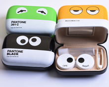 LIUSVENTINA cute EYES companion box leather box 3 types contact lens case lenses container