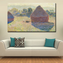 wall Picture oil painting claude monet haystacks midday impressionist painter print wall painting No Framed(China)