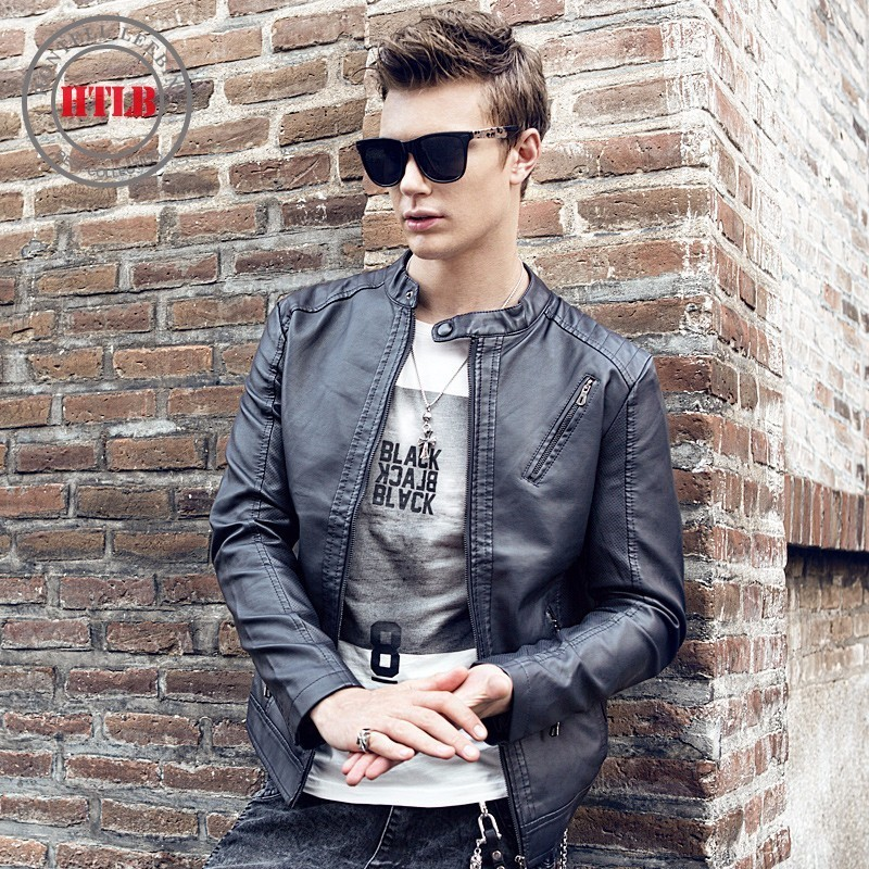HTLB Brand New Men Autumn Fleece Leather Jacket Coat Men Fashion Casual Winter Motorcycle PU Leather Jacket Leather Coat Men