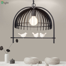 2016 Certified Nordic Paint Iron Resin 3D Bird Pendant Light American Pastoral Dining Room Suspend Lamps