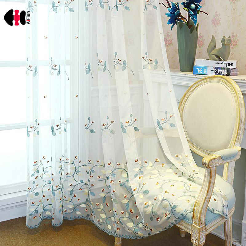 Pastoral Modern Floral Embroidered Curtains for Bedroom Countryside Delicate Sheer Window Treatment Drapes JS42C