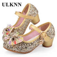 ULKNN Butterfly Children Princess Shoes Girls Bowtie Candy Color Hight Heels Slip on Party Dance Sandals For Baby Girls Kids(China)