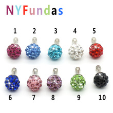 NYFundas 10PCS Cute Crystal Rhinestone Anti Dust Plug Stopper Ear Cap for iPhone 6S 5c 5s iPad Mini iPod xiaomi redmi note 3 pro(China)