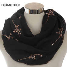 FOXMOTHER 2017 New Design Women Black Grey Navy Metallic Gold Foil Glitter Floral Tree Branches Infinity Scarf(China)