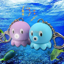 Lovely octopus voiced LED flashlight key chain car lovers gift phone bag pendant ornaments Creative toys Novelty Lighting