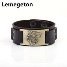 Buy Lemegeton Viking Wolf Head Antique Bronze Charm Vintage Jewelry Adjustable Snap Button Cuff Leather Bracelets Men Jewelry for $5.99 in AliExpress store