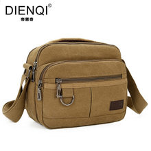 DIENQI Brand 2017 Multifunction Men Canvas Bag Casual Travel Bolsa Flaps Men's Crossbody Bag Vintage Men Messenger Handle Bags