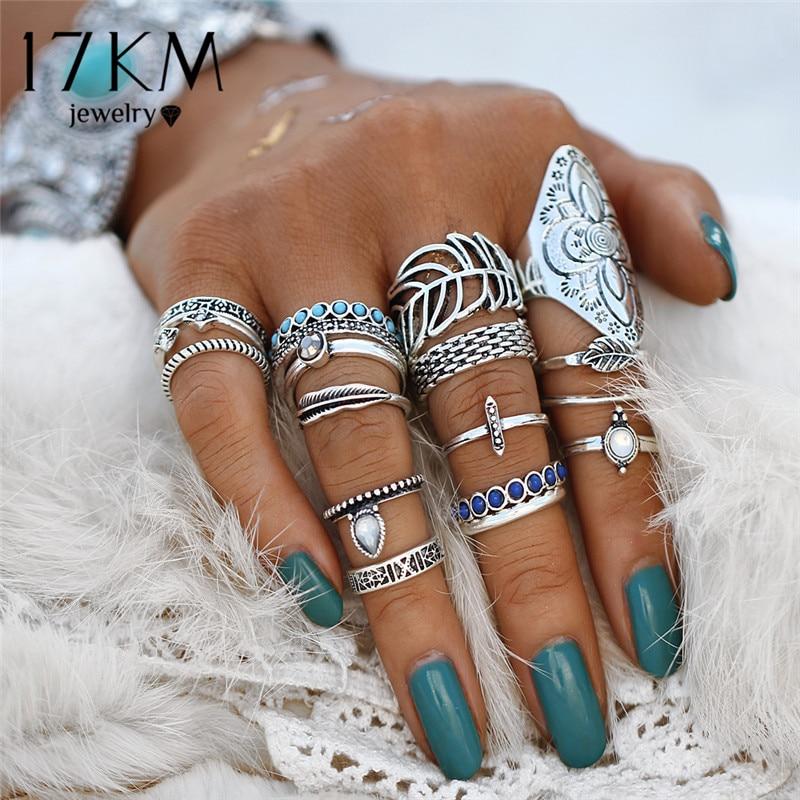 17KM Винтаж цветок лист Кольца Комплекты колец на фалангу для Женщина удивительная цена кольца в богемном стиле кольца с камнями модные яркие ювелирные изделия, ювелирные изделия