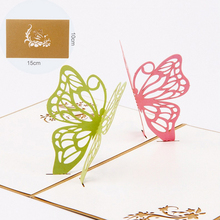 New 3D Pop Up Two Butterfly Greeting Cards Christmas Birthday Valentine Invitation APR27(China)