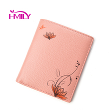 HMILY Genuine Cow Leather Wallet For Women Real Leather Flower Pattern Cute Women Clutch Purses High Quality Notecase Ladies