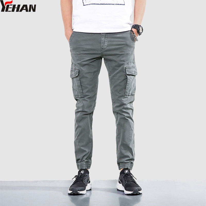 Yehan Casual Solid Workout Cargo Slim Fit 100% Cotton Plus Size Skinny Joggers Tactical Pants Men Gray Taper Trousers Men
