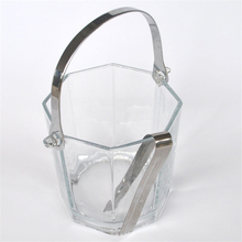 Thicker glass ice bucket / high quality ice cube wine refrigeration storage tank equipped with portable kitchen tool clip