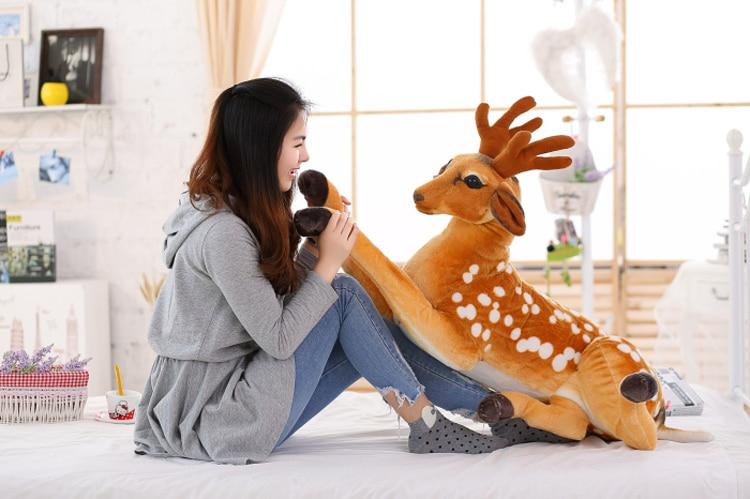 simulation animal 75cm prone sika deer plush toy throw pillow doll b0905<br>