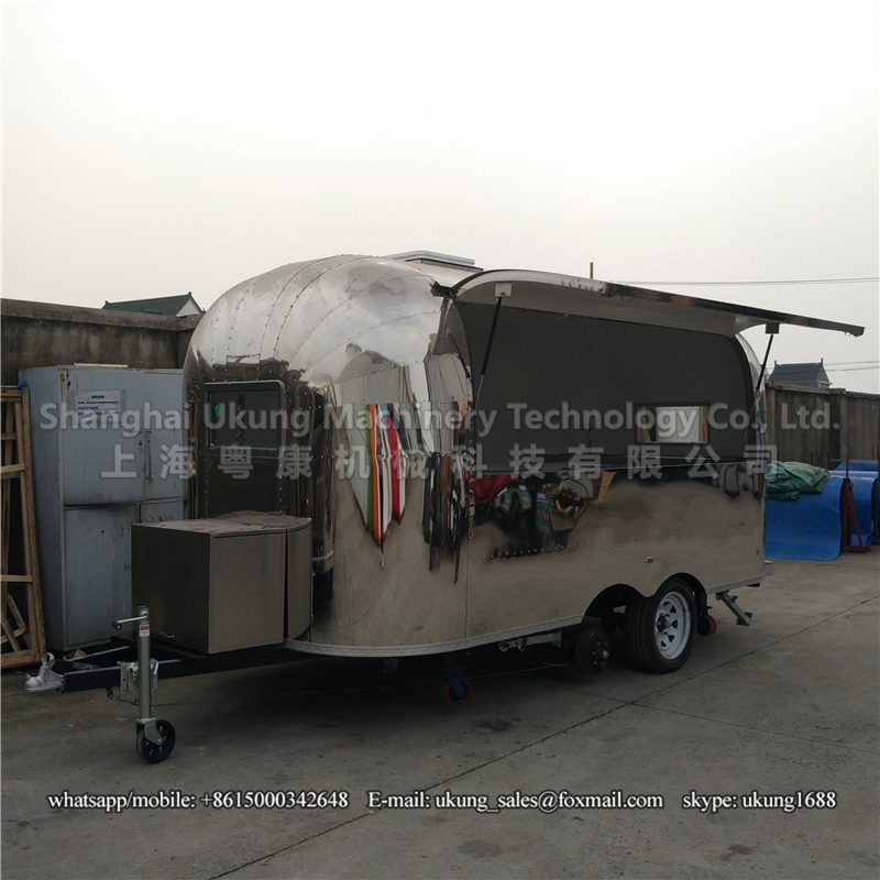 UKUNG, AST-210, 450cm long, 2 axles, with 2 ceiling windows, airstream stainless steel camping trailer(China (Mainland))