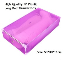 3pc/lot women's Stackable Plastic Storage Long Boot Drawer Boxes Case Ladies Foldable Clear Handhold Storage Shoe Box 53*30*11(China)
