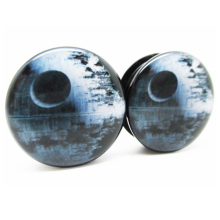 1 pair starwars earth plugs black acrylic screw fit flesh tunnel ear plug gauges ear expander body jewelry