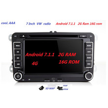 RNS510 VW radio DVD android 7.1.1 HD 1024X600 For Golf 5 6 Jetta Mk5 Mk6 Passat CC Tiguan polo Eos 3g wifi blue tooth(China)