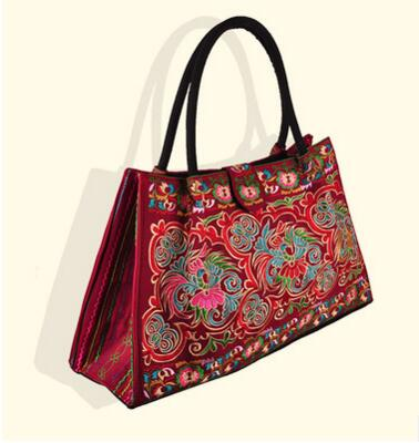 Free Shipping!2016 Womens Casual Tote!Hot national embroidery embroidered Shoulder&amp;Handbags Nice Floral casual big handbag<br>