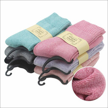 2017 New Solid Winter Thermal Cashmere Socks Women Warm Rabbit Wool Socks Women's Thicken Socks Girl Casual Socks 6 pairs/lot(China)