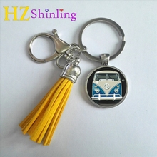 2017 Fashion Blue Hippy Bus Keyring Vintage Photo Tassel Keychain Sign Peace Key Chain Silver Bohemia Round Keychains Gifts Men