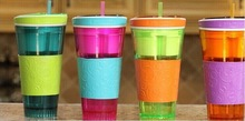 Snackeez Travel Cup Favourate Snack Drink With Lid Straw Kids Snack bottle As Seen On TV 4 Colors