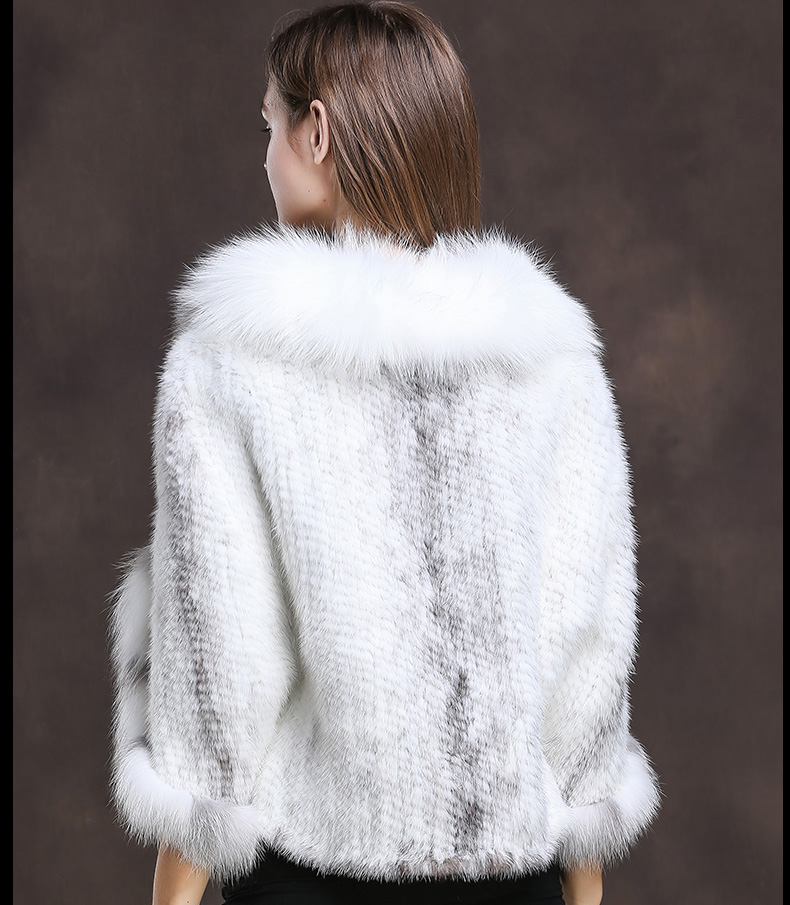 Winter Shawl Wrap Poncho Real Knit Mink Fur shawl With Fox Trimming Real fur Jacket coats party 2017 new (25)