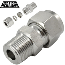 "1/2"" OD 12mm Double Ferrule Tube Pipe Fittings Threaded Male Connector Stainless Steel SS 304"