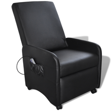 iKayaa black reclining chair with massage function and leatherette Living Room Sofa ES Stock