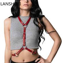 LANSHIFEI Sexy Punk Handcrafted Waist Cincher Leather Thigh High Suspenders Garter Belt Leg Body Bind Skin Shoulder Bag Belt