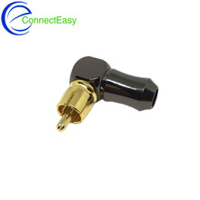4Pcs New High Quality Gold plated Right Angle RCA Male Plug Audio Video Connector Soldering