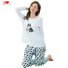 THREEGUN 100% Cotton Long Sleeve Unicom Women Pajamas Sets Cute Dog Printed Home Wear Indoor Warm Top And Bottom Pants For Lady(China)