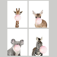Factory Promotion  Cute Animals Head Canvas Art Print Painting Poster Giclee Print Wall Pictures For Home  Wall Decor 321