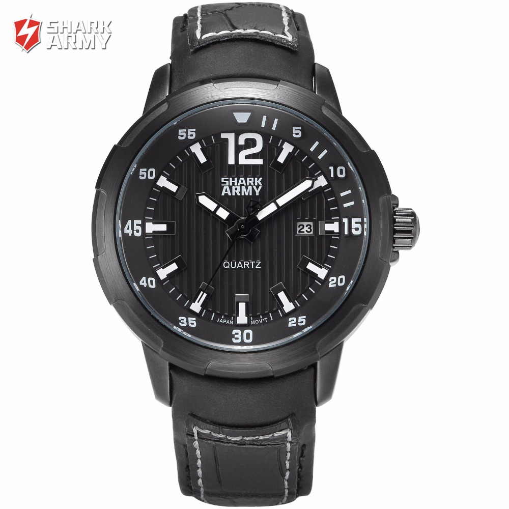 Shark Army Brand Auto Date Display White Analog Black Dial Leather Band Military Waterproof Men Wristwatches Male Skmei / SAW154<br>