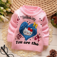 Girls Autumn hello kitty Sweater 2016 New Fashion Children Long Sleeve Knitting Warm Clothing Kids Cartoon Sweaters
